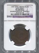 *1787 Sprig Above Plow New Jersey Colonial NGC VG Details Coin (JG 3533146018)