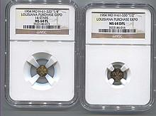 *Two Coin Set 1904 MO H-61-33 ''1/2'' Lousiana Purchase Expo MS64 DPL & 1904 MO H-61-320 ''1/4'' Louisiana Purchase Expo 14 Stars NGC MS64 PL Coin (JG 3533146016 & 3533146015)