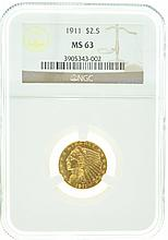 *1911 $2.50 U.S. Indian Head MS 63 NGC Gold Coin (DF)