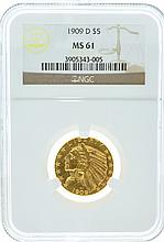 *1909-D $5 U.S. Indian Head MS 61 NGC Gold Coin (DF)