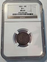 *1822 10c Capped Bust JR-1 NGC MS63 Coin (JG 3701455002)