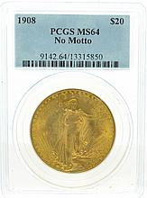 *1908 $20 U.S Saint-Gaudens No Motto PCGS MS64 Gold Coin (DF)