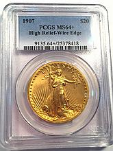 *1907 $20 Saint Gaudens Wire Edge PCGS MS64+ Coin (JG 25378418)