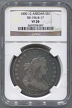 *1800 12 Arrows Heraldic Eagle Revers Draped Bust Dollar BB-196.B-17 NGC VF20 Coin (JG 3607078007)