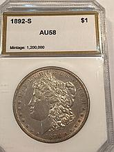 *1892-S $1 Morgan Key Of Set PCI AU58 Coin (JG)