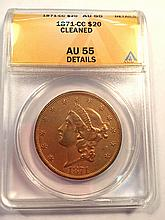 *1871-CC $20 Liberty ANACS Cleaned AU55 Details Coin (JG)