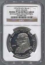 *1974 38mm John Adams Silver Medal PF66 Ultra Cameo Revolution Bicentennial Coin (JG 2015887004)