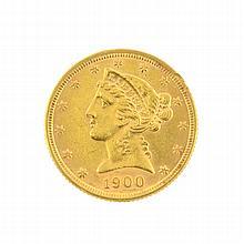 *1900 $5 U.S. Liberty Head Gold Coin