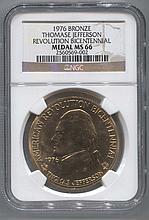 *1976 Bronze Thomas Jefferson Revolution Bicentennial Medal NGC MS66 Coin (JG 2560569002)