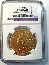 *1853-O $20 Liberty NGC Unc Details Coin (JG 3891434001)