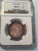 *1839-O Capped Bust Half NGC MS63 Coin (JG 3902075006)