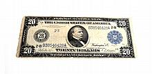 1914 $20 Blue Seal Federal Reserve Note