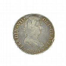 1824 Eight Reales American First Silver Dollar Coin