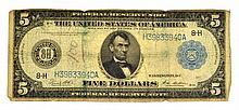 1914 $5 U.S Lincoln Federal Reserve