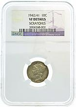 1942/41 Mercury Dime NDC VF Details Scratches Coin