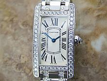 *Ladies Cartier Tank Americaine 18K Gold W Diamonds Original Box/Papers (SI P13) (CASHIERS CHECK OR WIRE ONLY NON-REFUNDABLE)