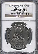*Facsimile Pewter (1975)  John Paul Jones Medal NGC MS68 Comitia Americana Coin (JG 2556050005)