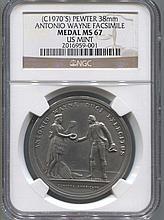 *(C1970's) Pewter 38mm Antonia Wayne Fasimile Medal MS67 US NGC Mint Coin (JG 2016959001)