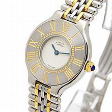 *Rare 18k Gold & Stainless Must de Cartier Swiss Ladies Watch (SI PAX74)