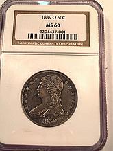 *1839-O Capped Bust Half NGC MS60 Coin (JG 2204437001)