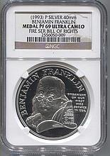 *1993 P Silver 40mm Benjamin Franklin Medal Proof 69 Ultra Cameo Fire Ser Bill Of Rights Coin (JG 2556050009)
