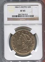 *1866-S Motto $10 Liberty NGC XF458 Coin (JG 3841744010)