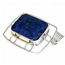 APP: 1.8k 118.87CT Emerald Cut Extremely Rare Iolite And Sterling Silver Pendant