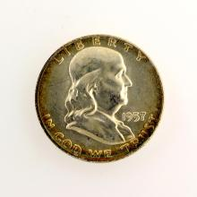 1957 Franklin Liberty Bell Half Dollar Coin