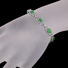 APP: 7.5k 4.15CT Oval Cut Green Beryl Emerald Platinum Over Sterling Silver Bracelet