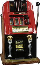 25 Cent Mills Doll Slot Machine c1950s w/ keys -P-NR-Due to laws regulating the sale of Antique Slot Machines, I, as the seller, will not sell to members in the states of AL, CT,HI, NE,SC, and TN. Bids from members residing in any of these states