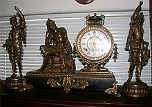 Antique 3 Piece Ansonia Clock -P-