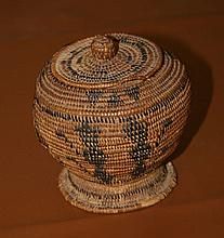 Early Indian Woven Mission Basket with Lid -P-