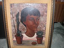 Extremely Rare Pierre Henry, Child And Cactus, 1956 Oil On Fiberboard, 19 3/4 x 25 1/2