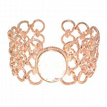 *925 Sterling Silver Rose Gold Plated Bangle With Clear Quartz Stone (SI VI0116)