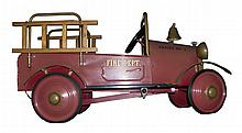 Very Early Fire Truck Pedal Car Great Condition-P-NR-