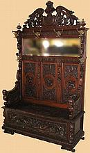 Antique Majestic Walnut Hall Seat-Carved - Pick Up Only -P-
