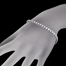 APP: 11k * 14 kt. White Gold, 5.01CT Round Brilliant Cut Diamond Tennis Bracelet (VGN A-25)
