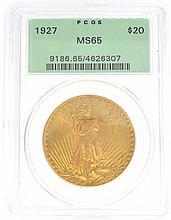 *1927 $20 U.S. MS65 Saint Gaudens Gold Coin (DF)