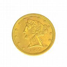 *1907 $5 U.S. Liberty Head Gold Coin (DF)