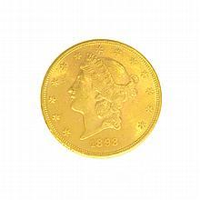 *1893 $20 U.S. Liberty Head Gold Coin (DF)