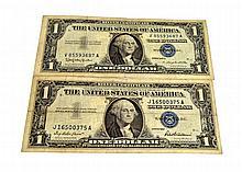 2 $1 U.S Silver Certificates