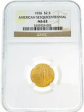 *1926 $2.5 U.S. American Sesquicentennial MS 62 NGC Gold Coin (DF)
