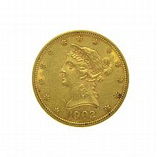 *1902 $10 U.S. Liberty Head Gold Coin (DF)