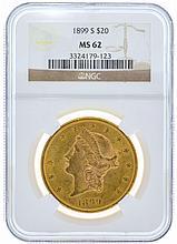 *1899-S $20 U.S. MS 62 NGC Liberty Head Gold Coin (DF)