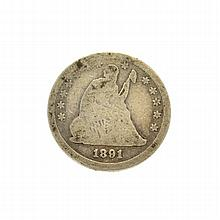 1891 Liberty Seated Quarter Dollar Coin