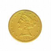 *1900-S $5 U.S. Liberty Head Gold Coin (DF)