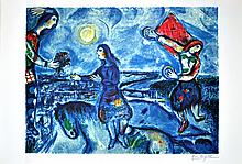 MARC CHAGALL (After) Lovers Over Paris Print, 218 of 500