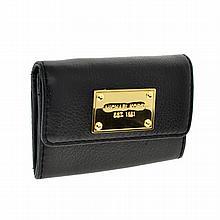 ^Brand New Michael Kors Signature Jet Set Item Black Leather Flap Coinpurse