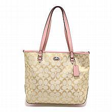 Brand New COACH Signature Zip Top Shoulder Tote Bag