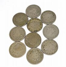 10 US Liberty Head V Nickels Various Years Coins